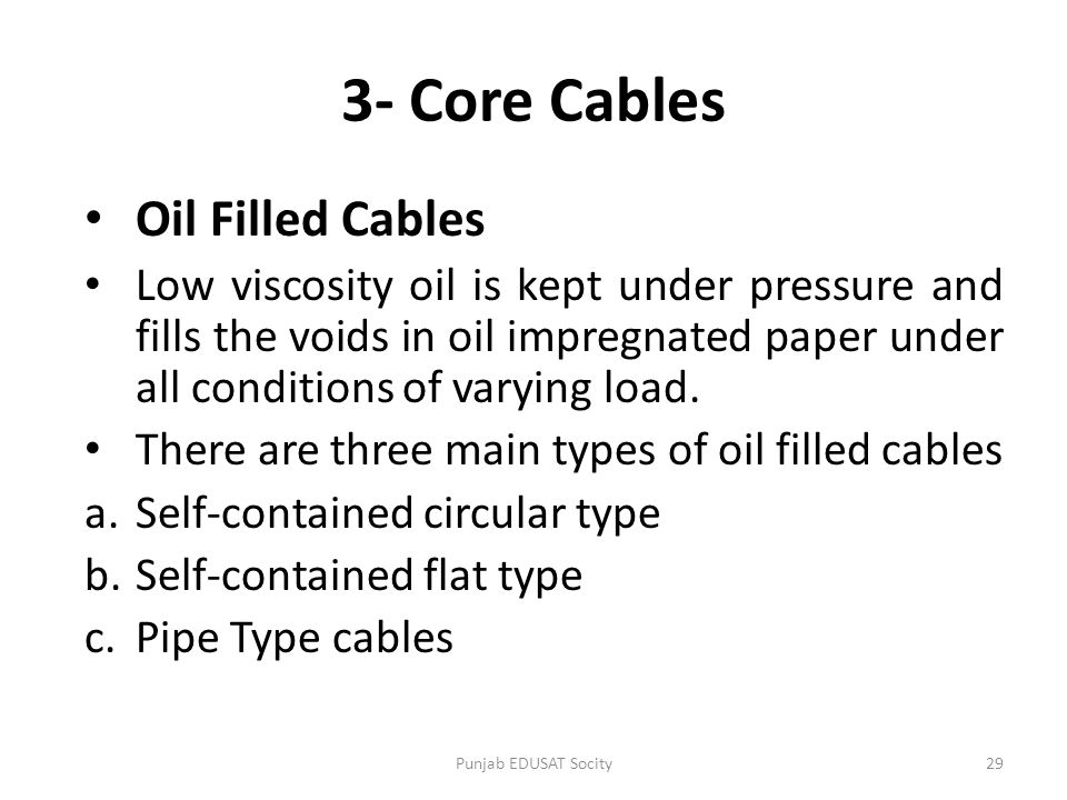 3- Core Cables Oil Filled Cables