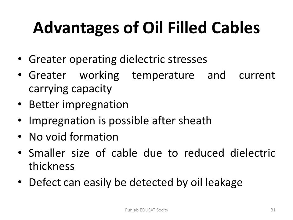 Advantages of Oil Filled Cables