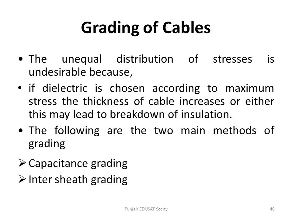 Grading of Cables The unequal distribution of stresses is undesirable because,