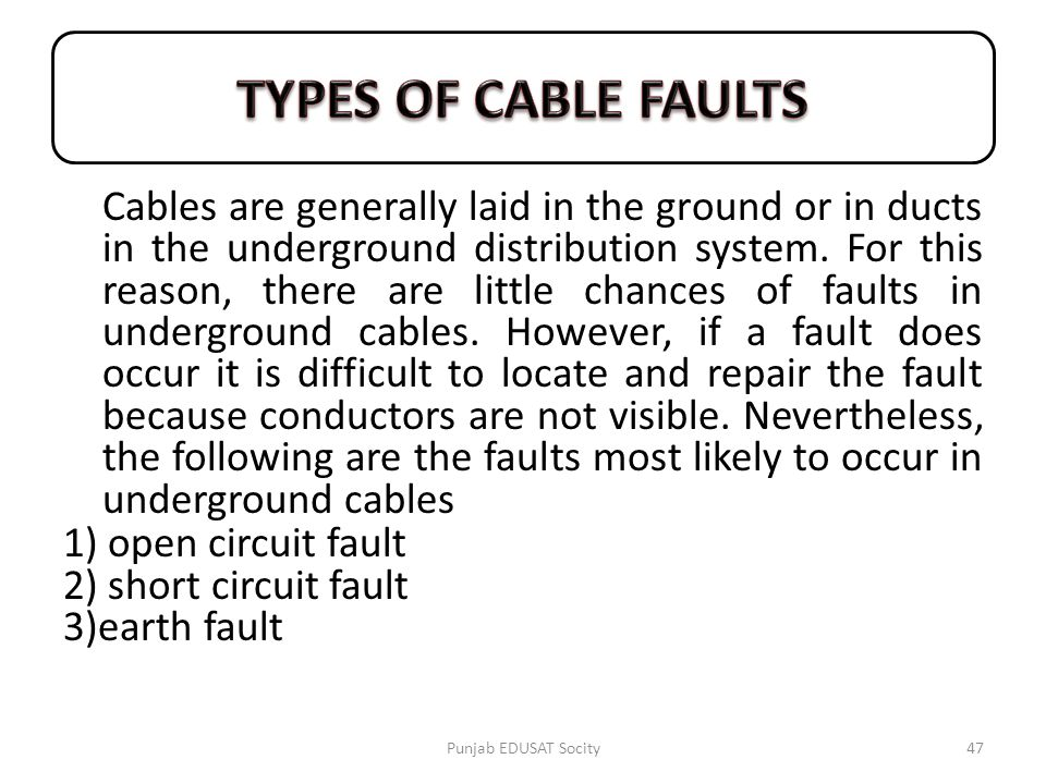 TYPES OF CABLE FAULTS