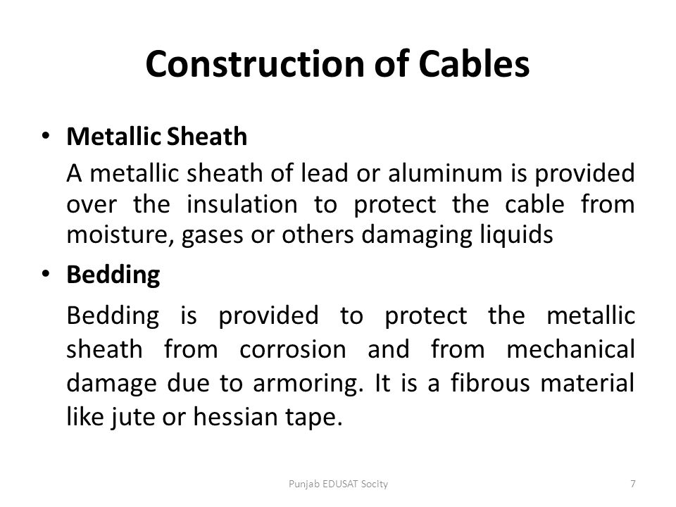 Construction of Cables