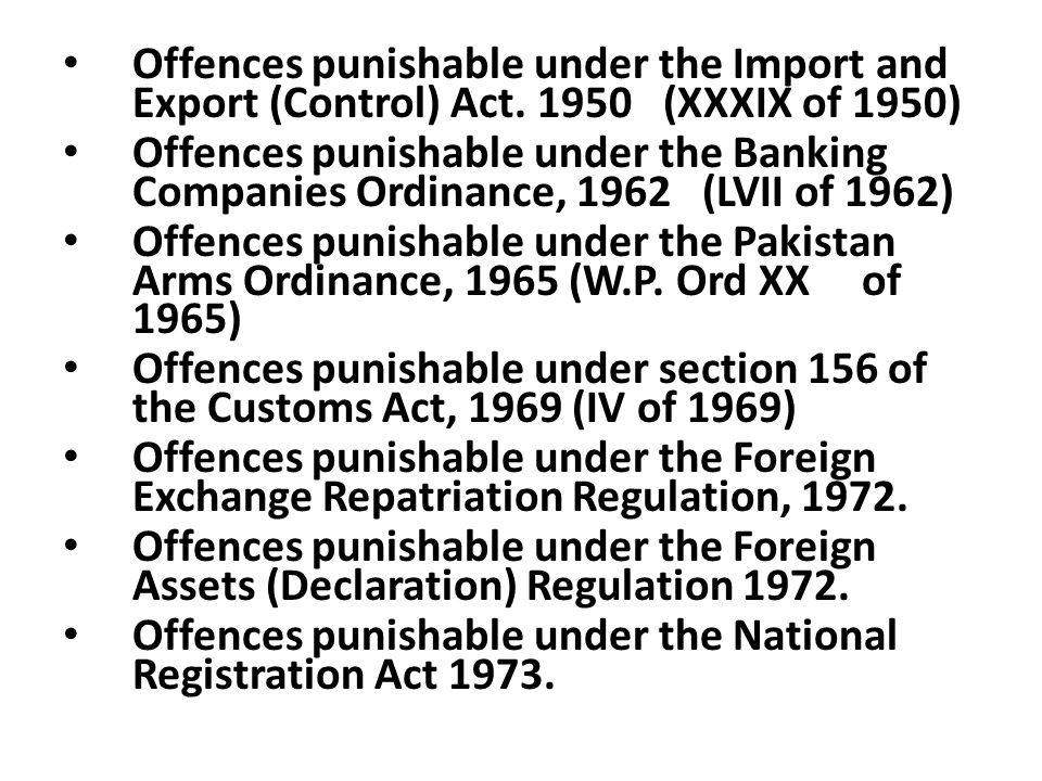Offences punishable under the Import and Export (Control) Act