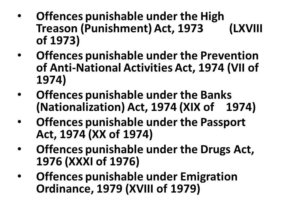Offences punishable under the High Treason (Punishment) Act, 1973 (LXVIII of 1973)