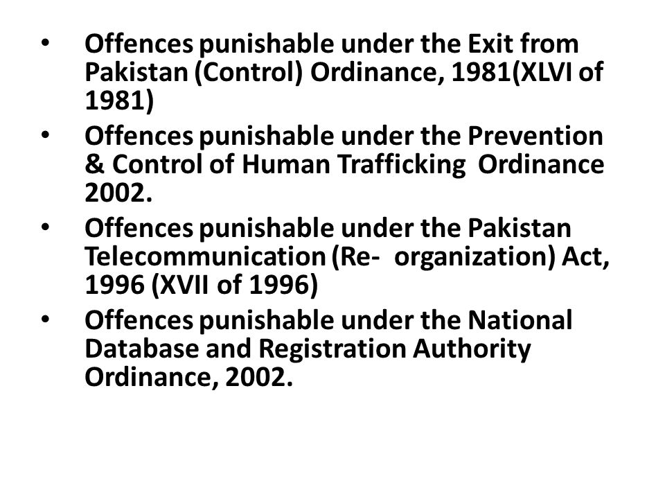 Offences punishable under the Exit from Pakistan (Control) Ordinance, 1981(XLVI of 1981)