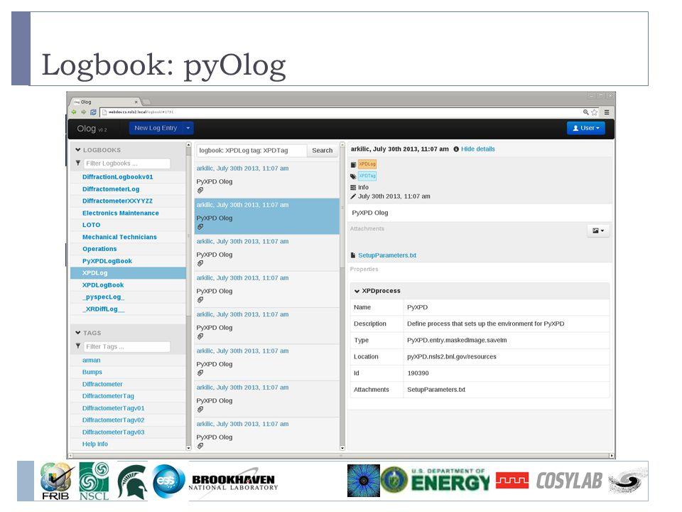 Logbook: pyOlog
