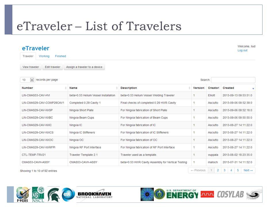 eTraveler – List of Travelers