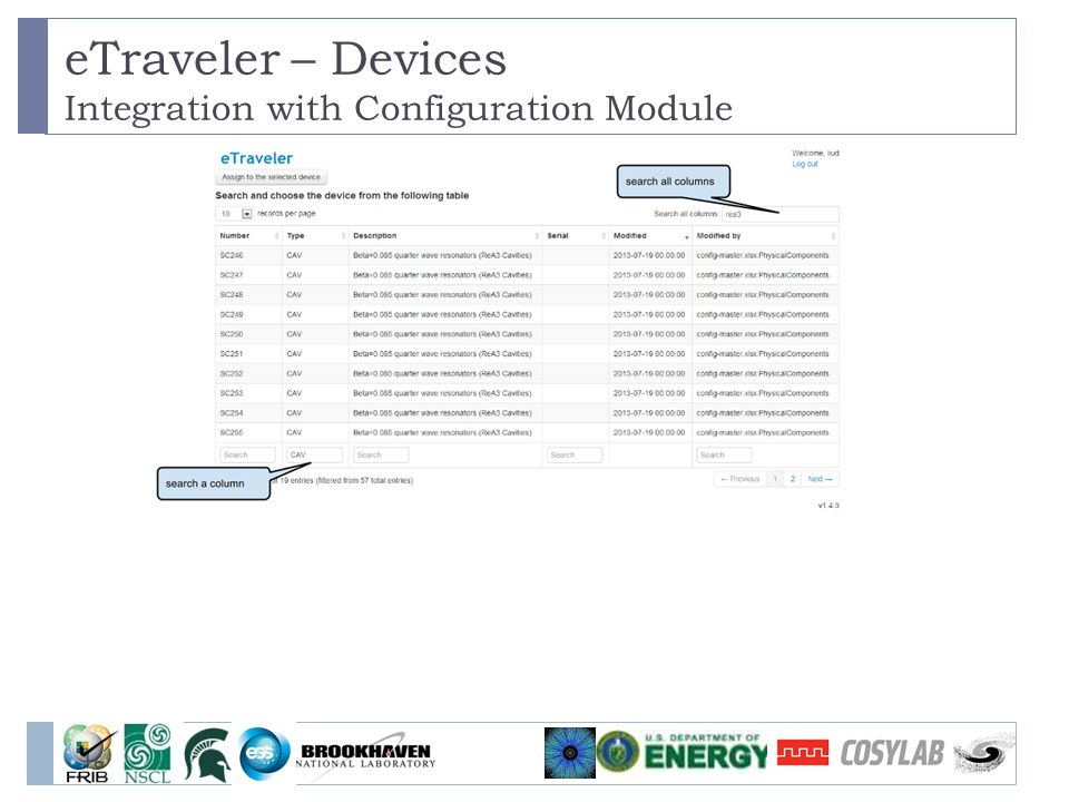 eTraveler – Devices Integration with Configuration Module