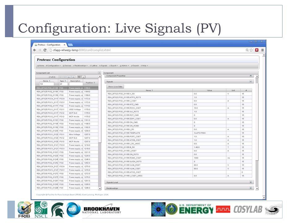 Configuration: Live Signals (PV)