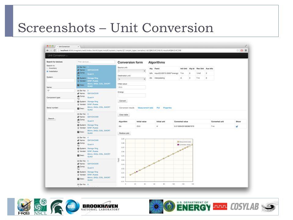 Screenshots – Unit Conversion
