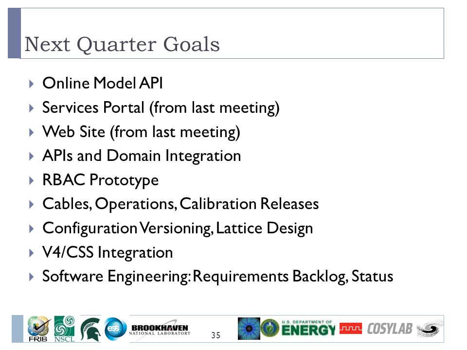 Next Quarter Goals Online Model API