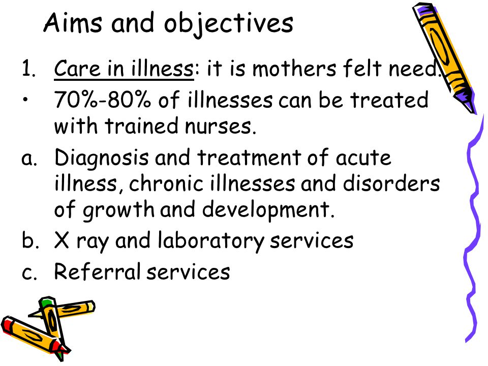 Aims and objectives Care in illness: it is mothers felt need.