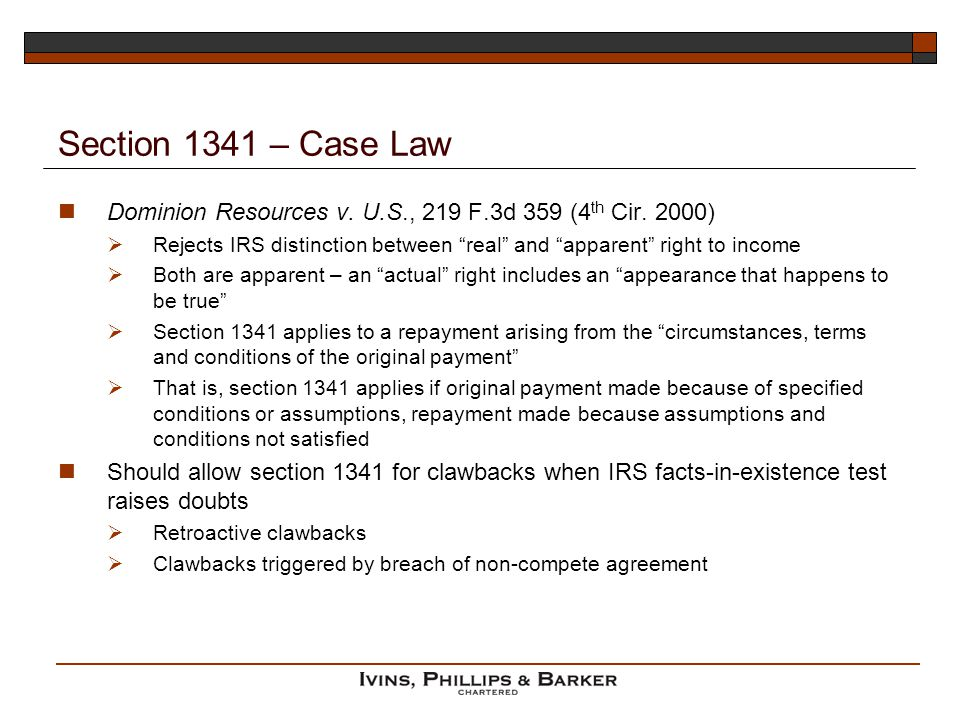 Section 1341 – Case Law Dominion Resources v. U.S., 219 F.3d 359 (4th Cir. 2000)
