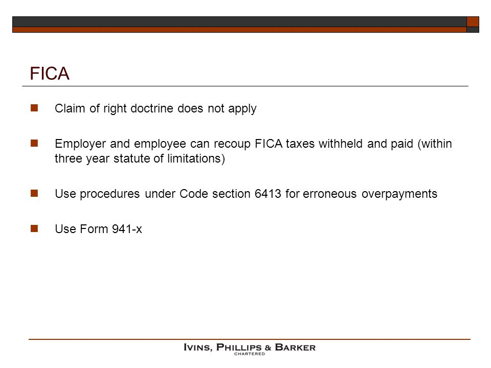 FICA Claim of right doctrine does not apply