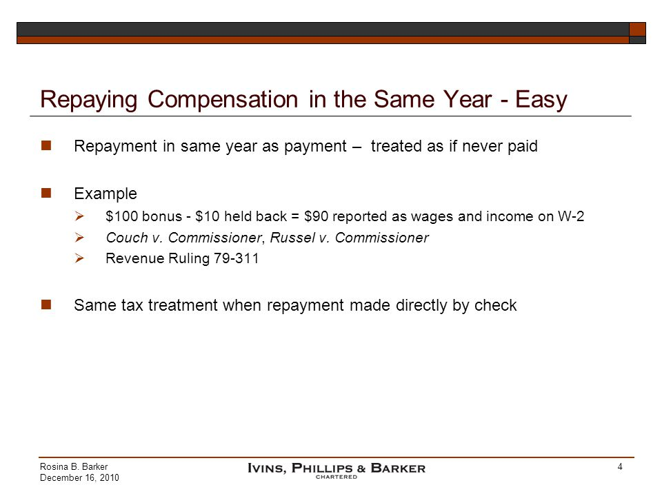 Repaying Compensation in the Same Year - Easy