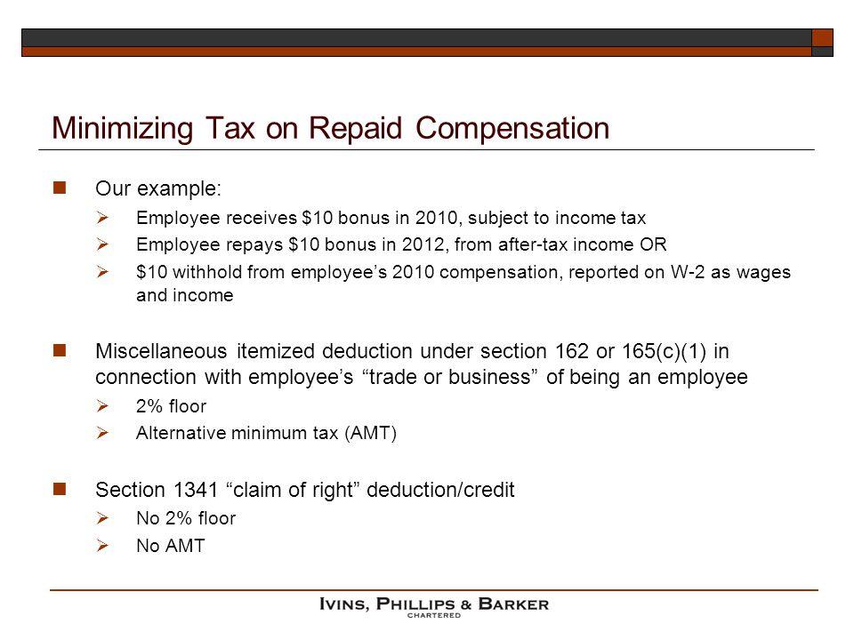 Minimizing Tax on Repaid Compensation