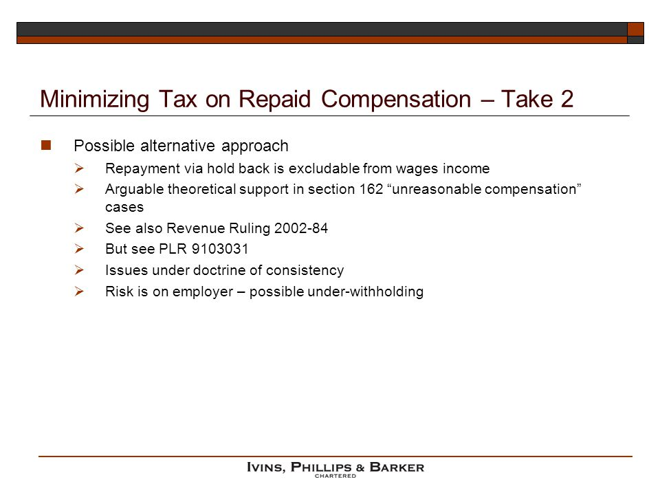 Minimizing Tax on Repaid Compensation – Take 2
