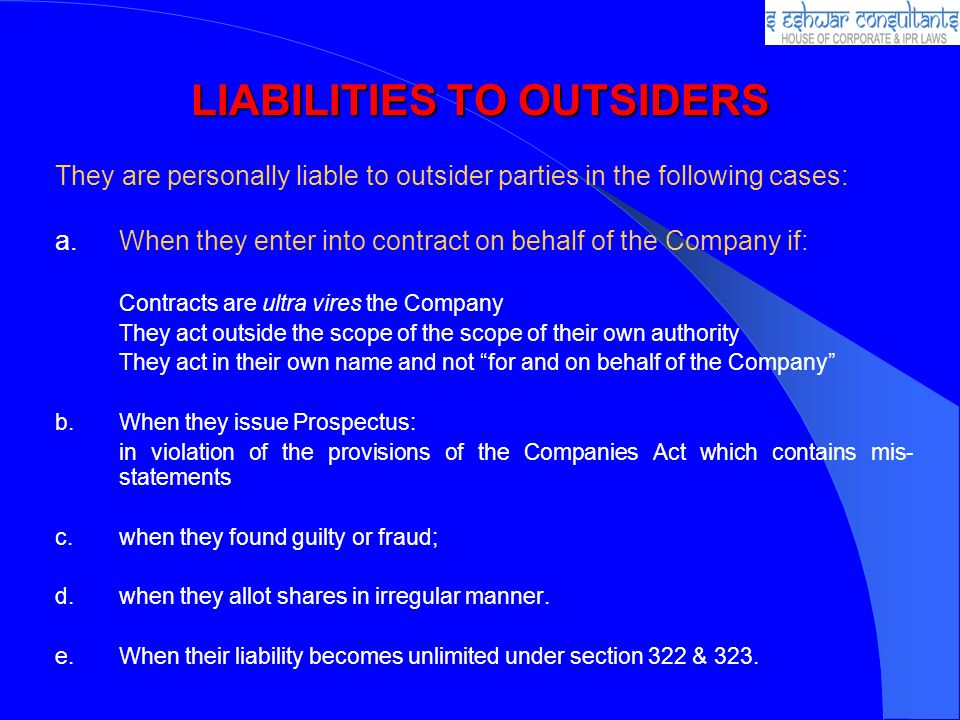 LIABILITIES TO OUTSIDERS