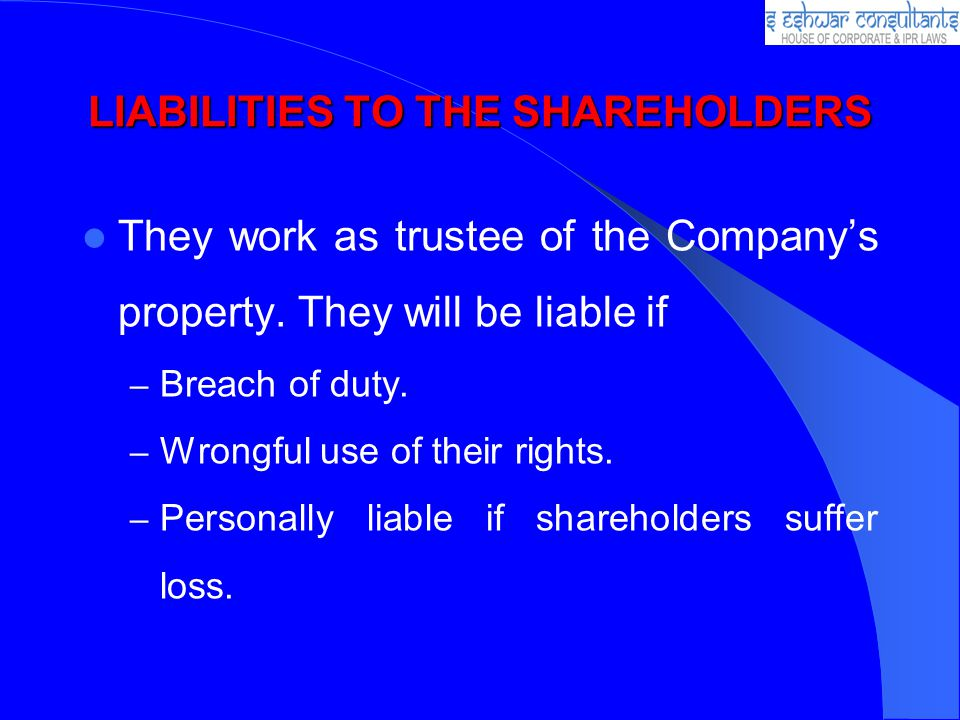 LIABILITIES TO THE SHAREHOLDERS