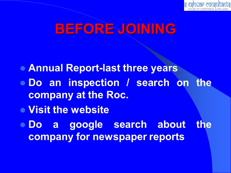 BEFORE JOINING Annual Report-last three years