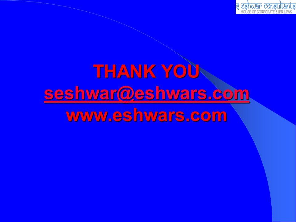 THANK YOU seshwar@eshwars.com www.eshwars.com