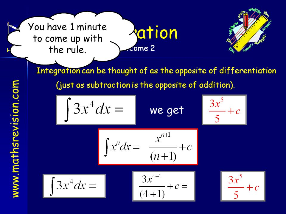 Integration we get You have 1 minute to come up with the rule.