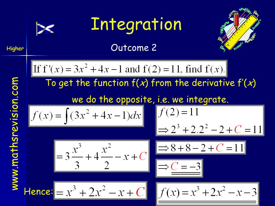 Integration Outcome 2. To get the function f(x) from the derivative f'(x) we do the opposite, i.e. we integrate.
