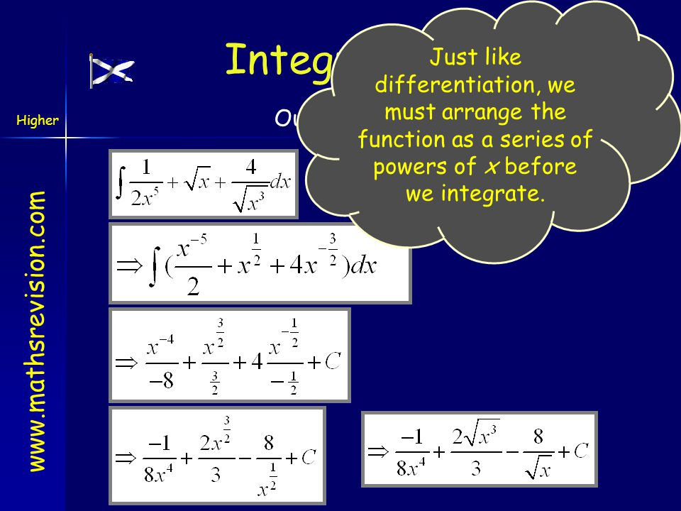 Just like differentiation, we must arrange the function as a series of powers of x before we integrate.