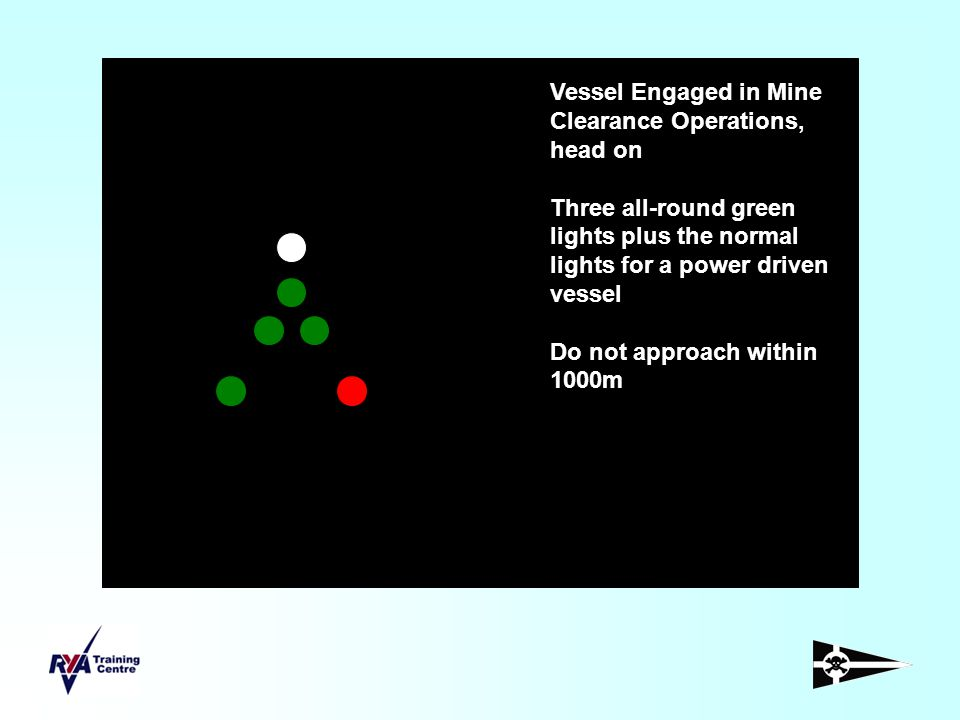 Vessel Engaged in Mine Clearance Operations, head on