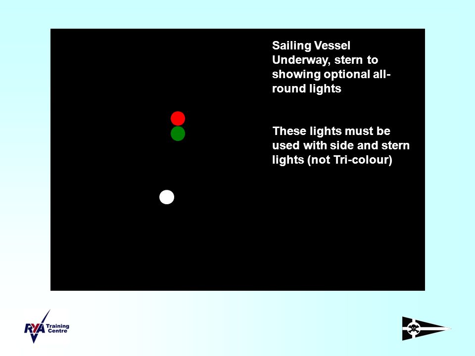 Sailing Vessel Underway, stern to showing optional all-round lights