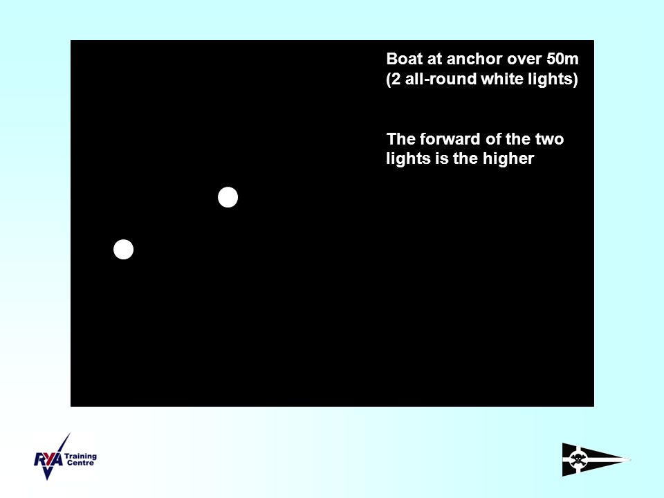Boat at anchor over 50m (2 all-round white lights)