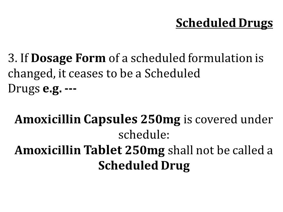 Amoxicillin Capsules 250mg is covered under schedule: