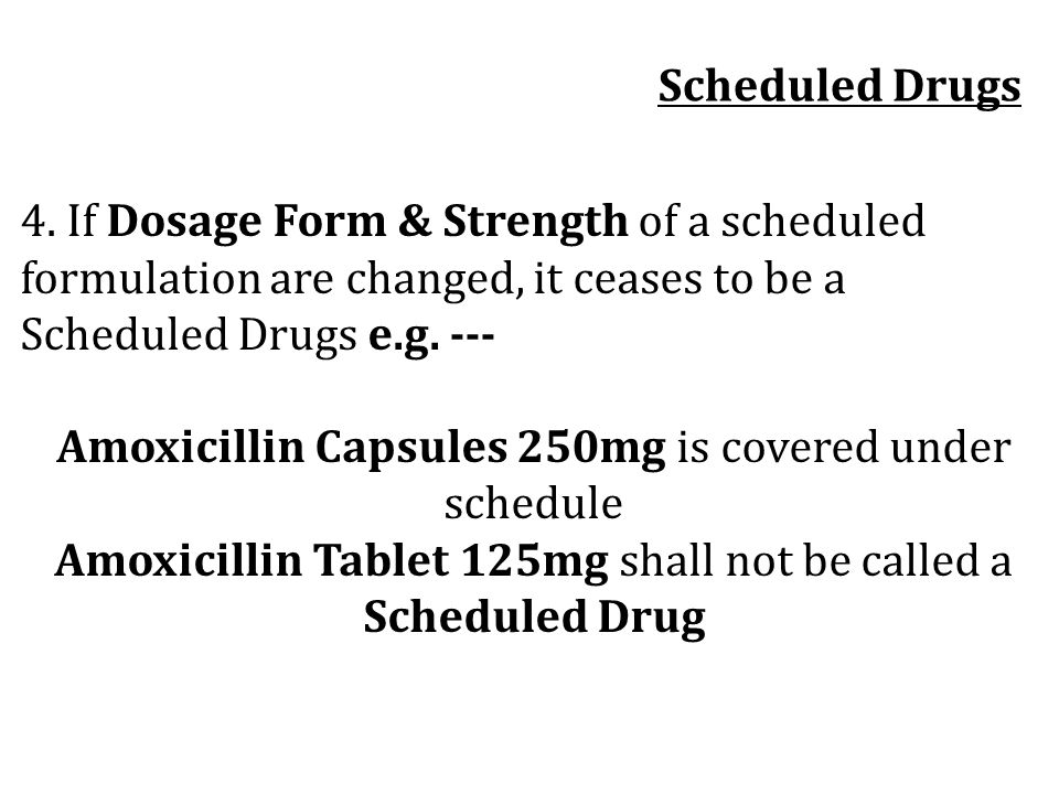 Amoxicillin Capsules 250mg is covered under schedule
