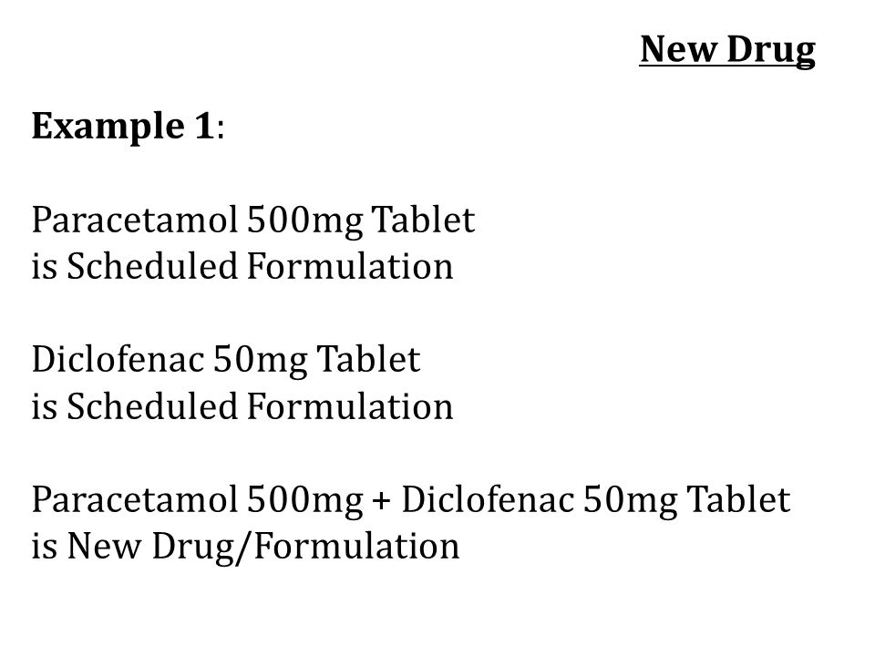 New Drug Example 1: Paracetamol 500mg Tablet. is Scheduled Formulation. Diclofenac 50mg Tablet.