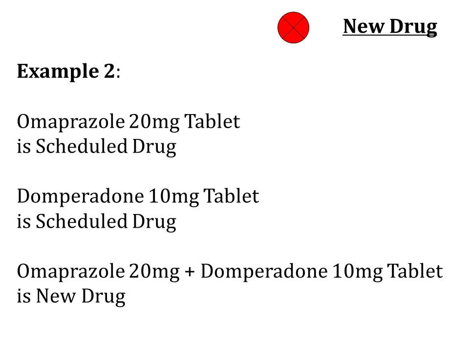 New Drug Example 2: Omaprazole 20mg Tablet. is Scheduled Drug Domperadone 10mg Tablet.