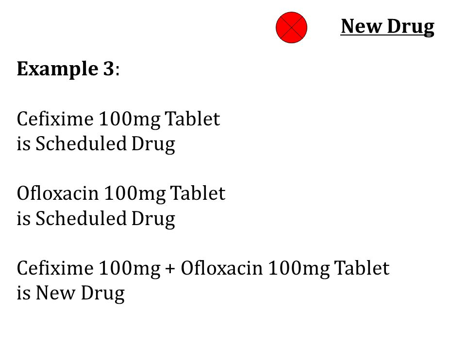 New Drug Example 3: Cefixime 100mg Tablet. is Scheduled Drug Ofloxacin 100mg Tablet. is Scheduled Drug.