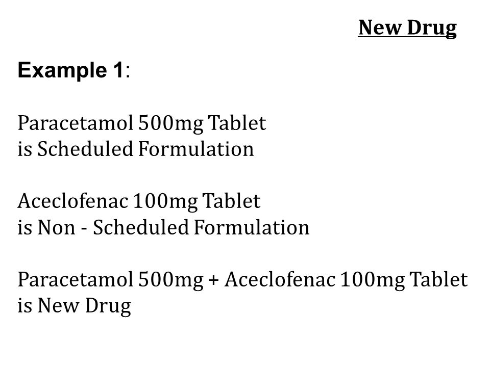 New Drug Example 1: Paracetamol 500mg Tablet. is Scheduled Formulation Aceclofenac 100mg Tablet.