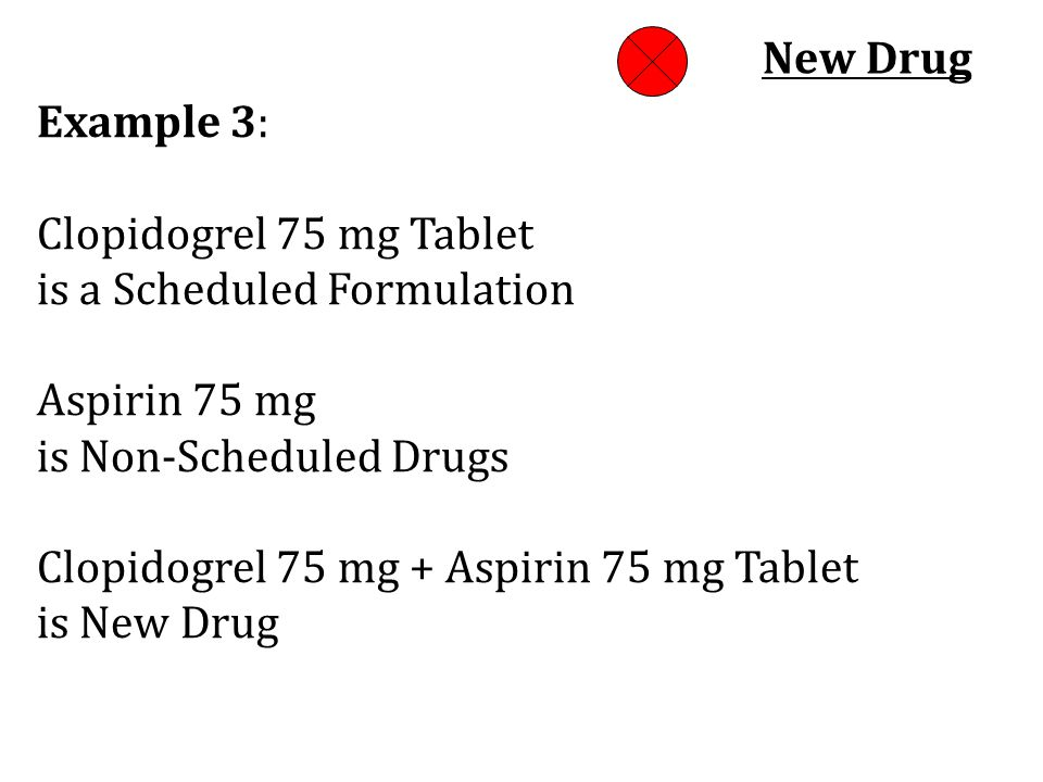 New Drug Example 3: Clopidogrel 75 mg Tablet. is a Scheduled Formulation Aspirin 75 mg. is Non-Scheduled Drugs.
