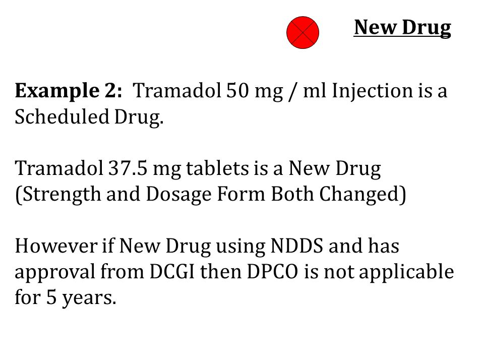 New Drug Example 2: Tramadol 50 mg / ml Injection is a Scheduled Drug.
