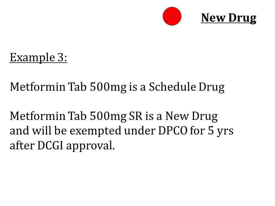 New Drug Example 3: Metformin Tab 500mg is a Schedule Drug Metformin Tab 500mg SR is a New Drug.
