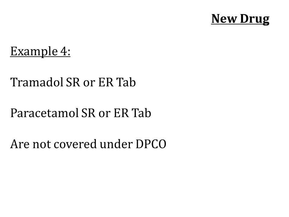 New Drug Example 4: Tramadol SR or ER Tab Paracetamol SR or ER Tab Are not covered under DPCO