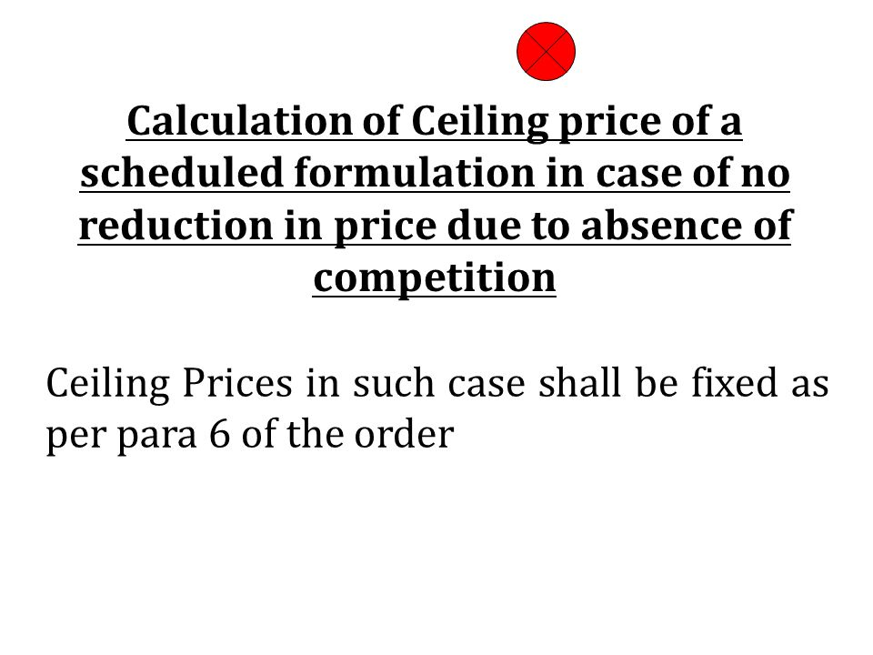Calculation of Ceiling price of a scheduled formulation in case of no reduction in price due to absence of competition