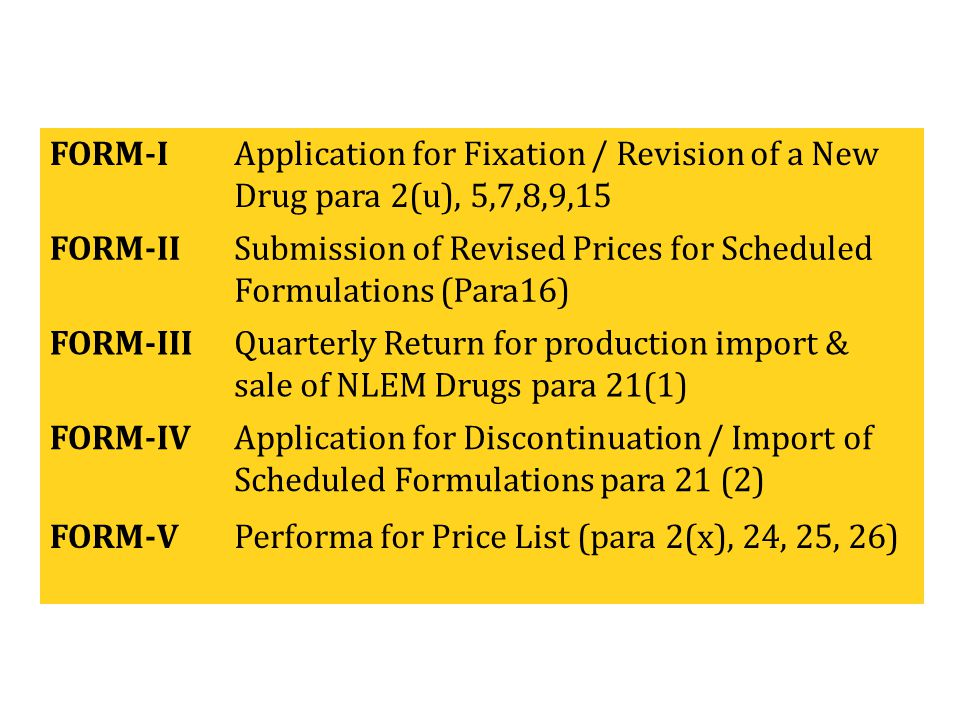 FORM-I Application for Fixation / Revision of a New Drug para 2(u), 5,7,8,9,15. FORM-II.