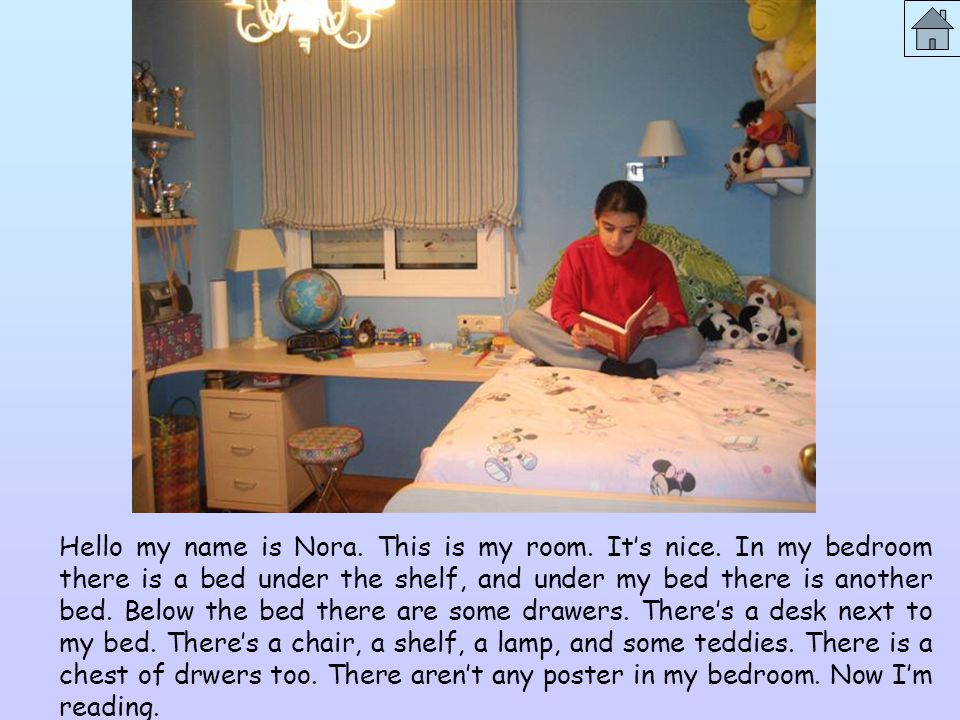 Hello my name is Nora. This is my room. It's nice