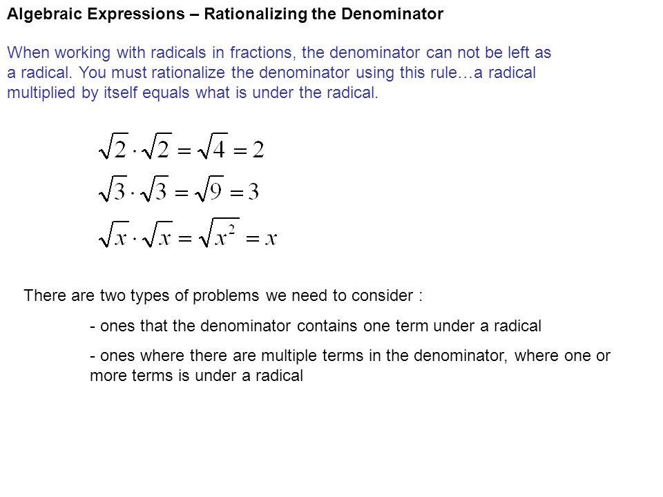 Algebraic Expressions – Rationalizing the Denominator