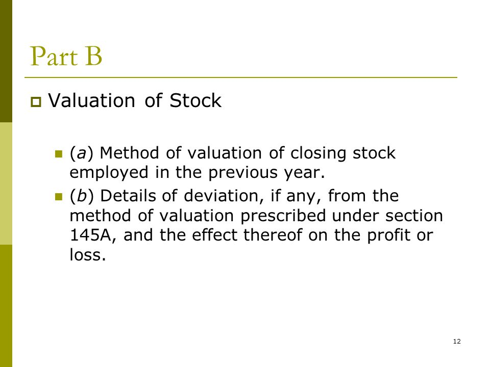 Part B Valuation of Stock