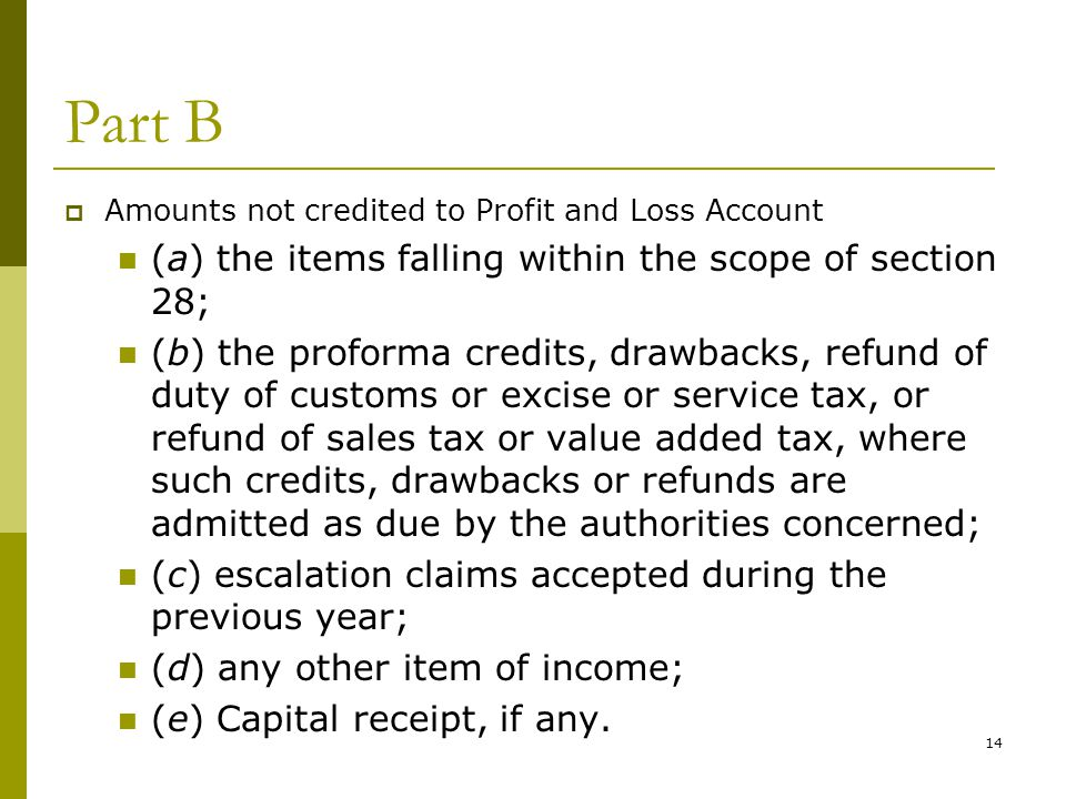 Part B (a) the items falling within the scope of section 28;