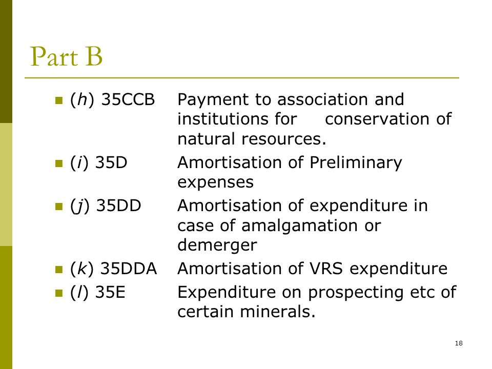 Part B (h) 35CCB Payment to association and institutions for conservation of natural resources. (i) 35D Amortisation of Preliminary expenses.