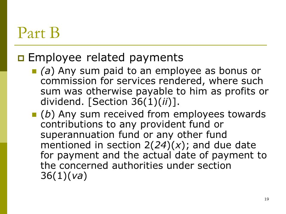 Part B Employee related payments