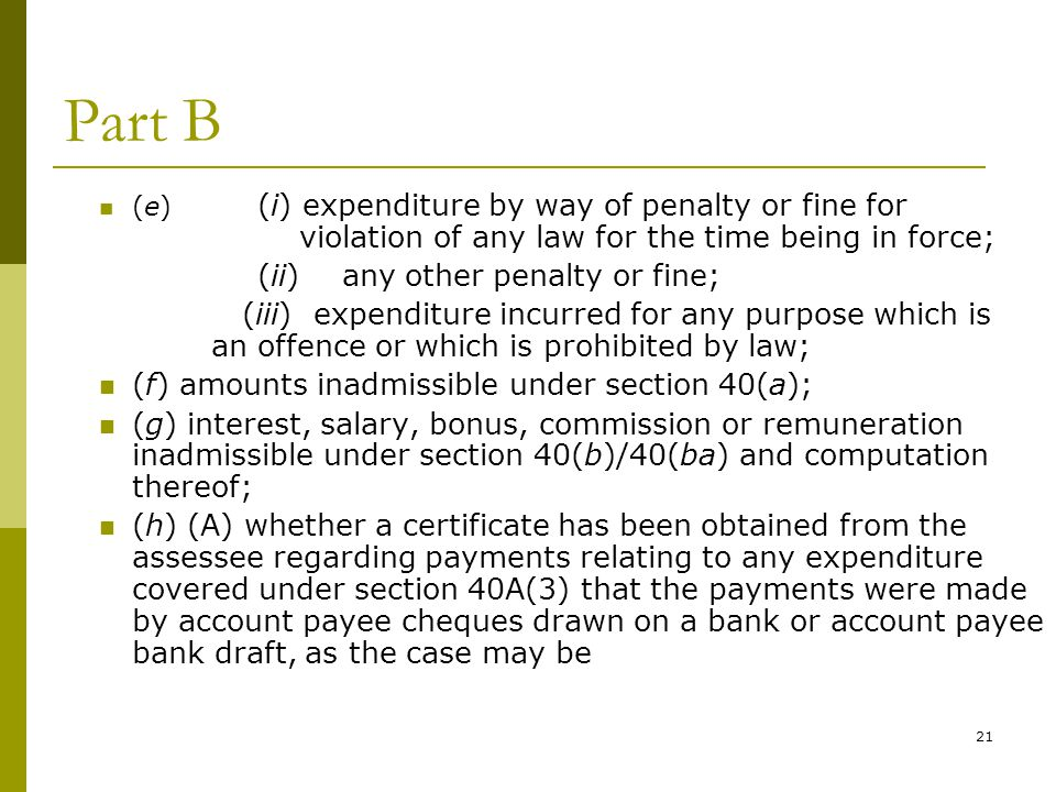 Part B (ii) any other penalty or fine;