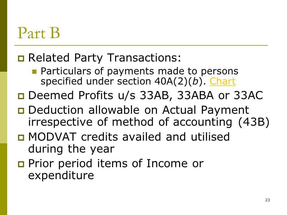 Part B Related Party Transactions: